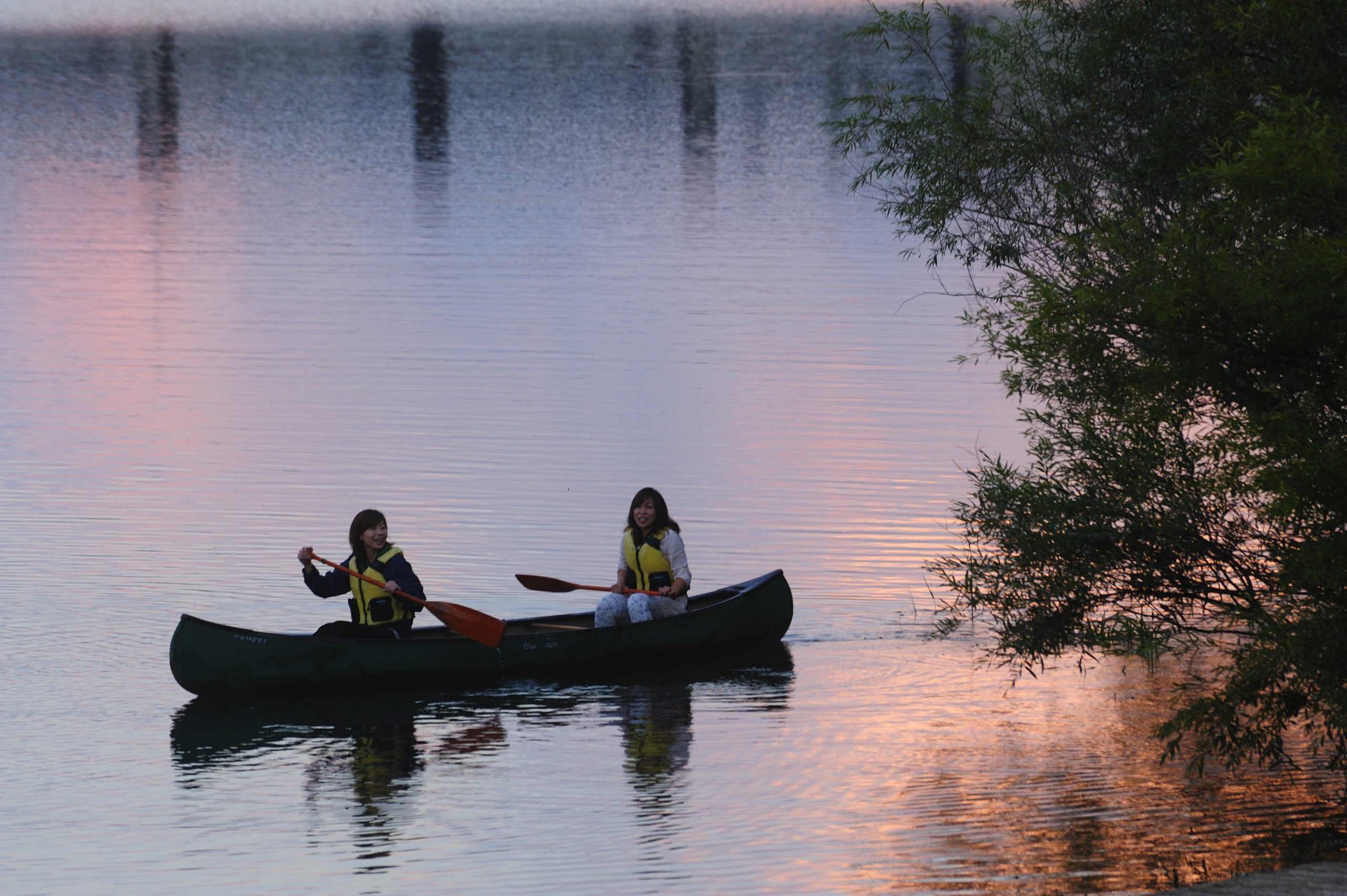 Take a leisurely canoe walk on the quiet lake surface at dusk